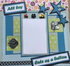 """Two """"Cute as a Button"""" pre-made scrapbook pages 12"""" x 12"""" for your baby boy's 9 month pictures by Carolsues on Etsy"""