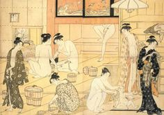 Japanese women bathing - While the Japanese people of the Century bathed frequently, most did not have baths in their own homes and used public baths. Japanese Bath House, Costumes Japan, Japanese Prints, Japanese Culture, Woodblock Print, Erotic Art, Traditional Art, Bathing, Minions