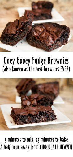 My spin: USE DARK COCOA POWDER, add espresso powder Ooey Gooey Fudge Brownies | Brownie Bites Blog