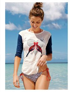 FEB '14 Style Guide: J.Crew sail away string hipster swimsuit worn with the linen baseball tee in lovebirds.