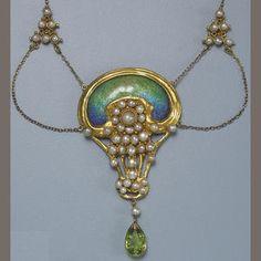 An art nouveau enamel, gem-set, and gold necklace. Visit Renaissance Fine Jewelry in Vermont. www.vermontjewel.com