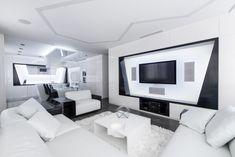 Futuristic Axioma Apartment In Black And White By Geometrix Design . Futuristic Axioma Apartment in Black and White by Geometrix Design - Architecture Futuristic Interior, Futuristic Design, Apartment Interior Design, Home Interior, Interior Modern, Futuristisches Design, House Design, Design Elements, Appartement Design