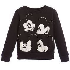 Little Eleven Paris Unisex Black 'Mickey Mouse' Sweatshirt at Childrensalon.com