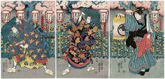 Kuniyoshi / Triptychon  Sawamura Chojuro V,Ichikawa Ebizo V+Onoe Baiko IV