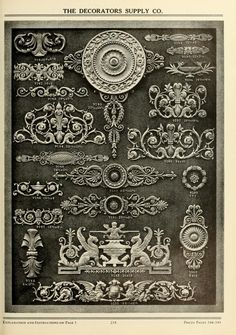 see site for more - 1900 - Illustrated catalogue of period ornaments cast in composition and wood fibre for woodwork-furniture --  by Decorators Supply Corp