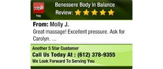 Great massage! Excellent pressure. Ask for Carolyn.