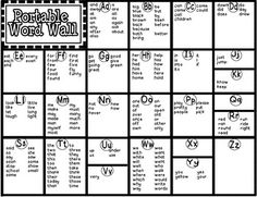 This is a Portable Word Wall made up of Dolch Words (pre-primer, primer, grade Fountas/Pinell High Frequency Words (K, grade) and the first. First Grade Words, 1st Grade Writing, First Grade Reading, Teaching Writing, Writing A Book, Teaching Resources, Teaching Ideas, Second Grade, Writing Journals