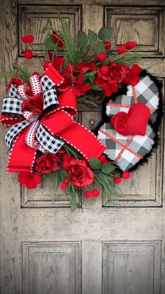 Valentine grapevine, roses with hearts Buffalo plaid - Holiday wreaths christmas,Holiday crafts for kids to make,Holiday cookies christmas, Funny Valentine, Roses Valentine, Valentine Day Wreaths, Valentines Day Decorations, Valentines Diy, Holiday Wreaths, Wreath Crafts, Diy Wreath, Wreath Ideas
