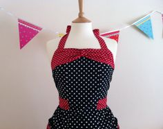 Retro Apron with bow, Black and white dots, decorated with red and white dots. 1950's vintage inspired hosterss apron. on Etsy, $34.71