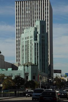 This great blue/green art deco building is the home of the Wiltern Theater in Los Angeles at the corner of Wilshire Boulevard and Western Avenue.