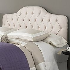 Amazon.com - Martinique Upholstered Adjustable Headboard Panel with Solid Wood Frame and Button-Tufted Design, Ivory Finish, Full/Queen - Upholstered Headboards