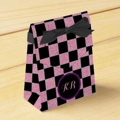 Glittered Pink and Black Squares Party Favor Box