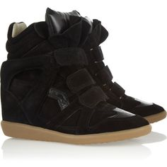 Isabel Marant The Bekket leather and suede sneakers ($640) ❤ liked on Polyvore