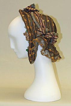 Victorian millinery, fashion accessories: Bonnet (1854-55) headwear, hats. lots of amazing details <3
