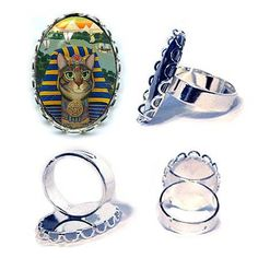 Egyptian Pharaoh Cat Ring Egypt Cat Bastet King Silver Cat Ring Fantasy Cat Art Cameo Ring 25x18mm Gift for Cat Lovers Jewelry