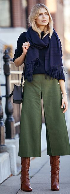 army green culottes \ navy sweater and scarf \ brown boots