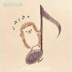 1357 ♪ #illustration #hedgehog #イラスト #ハリネズミ #なみはりねずみ