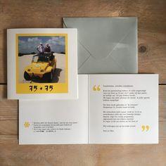Mies kwam bij ons met de vraag of wij een originele kaart wilden ontwerpen voor het feest dat zij en Nort gingen geven ter ere van beider 75e verjaardag.    Het was heerlijk om samen te brainstormen en het eindresultaat past helemaal bij deze wereldreizigers.