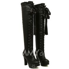 $23.30 Elegant Women's Over The Knee Boots With Lacework and Lace-Up Design