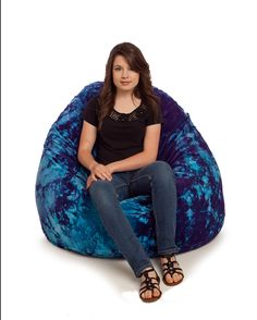 Bean Bag Chairs and Bean Bags by The Bean Bag Chair Outlet Large Bean Bag Chairs, Sadie, Tie Dye, Room, Blue, Bedroom, Rooms, Tye Dye, Rum