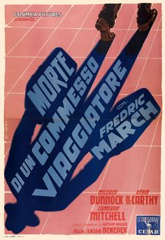 "MP644. ""Death of a Salesman"" Italian Movie Poster by Anselmo Ballester (Laslo Benedek 1951) / #Movieposter"