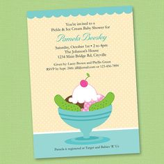 Custom Ice Cream and Pickles Baby Shower - Blue - Personalized Digital Printable Custom Invitation - Personal Use Only on Etsy, $10.00