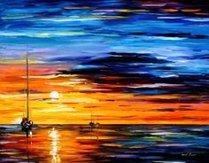 "line Far And Away, Palette Knife Oil Painting On a 24""x30"" Canvas By Leonid Afremov.   The lines used in this painting make it appear as if the boats are farther away, sailing off into the sunset.  Complimentary colors are used in this painting. Value is used in this artwork to make it appear as if it is about to be dark.  The texture is implied.  The shapes are organic"