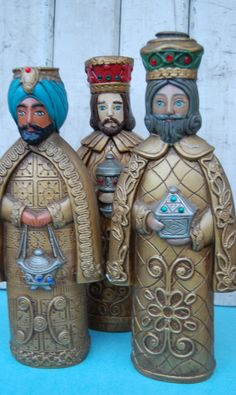 Vintage 70s Three Wise Men Candleholders by RB Japan by MaceSpace