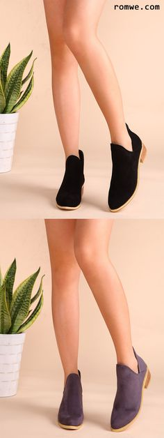 Faux Suede Cork Heel Ankle Booties