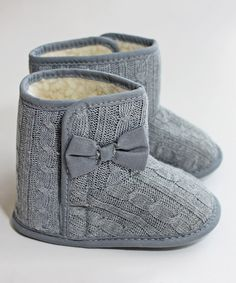 Another great find on #zulily! Z by Yoon Gray Cable Knit Bow Booties by Z by Yoon #zulilyfinds