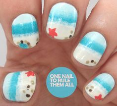 Fun in the Sun: Beach Nails How-To Don't settle for daydreaming about that beach vacation. Bring the beach to your nails with this splashy design for beach nails. Here's how to get the look. Beach Nail Designs, Diy Nail Designs, La Nails, Beach Nails, Beach Pedicure, Nail Art Blog, Nails Tumblr, Artificial Nails, Nail Art Galleries