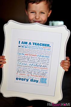 """Teacher Appreciation Free Printables ~ 8x10"""" print, note cards, and gift tags   FiveHeartHome.com"""