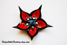 Red and black pvc cyber flower gothic by KatzLittleFactory on Etsy, £5.00