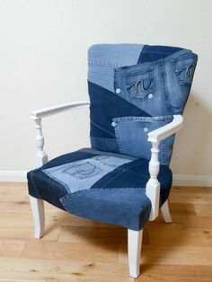 Do you have a love of denim? Upcycle a chair with denim patchwork fabric, step by step photographs. Reupholster a bedroom chair. Create a denim chair. Bedroom Chair, Bedroom Furniture, Home Furniture, Funky Furniture, Furniture Ideas, Antique Furniture, Furniture Styles, Contemporary Furniture, Freedom Furniture