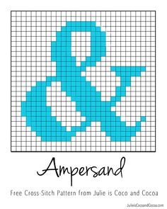 Free Ampersand Pattern Counted Cross-Stitch Pattern from Julie is Coco and Cocoa