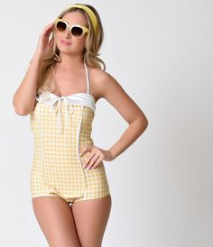 Vintage 1950s Pin Up Yellow & White Gingham Halter One Piece Swimsuit