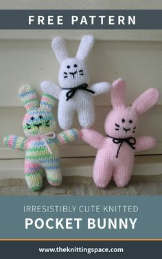 Irresistibly Cute Knitted Pocket Bunny [FREE Knitting Pattern] - Craft a bunch of these super cute knitted easter bunny pocket toys, perfect as a handmade giveaway for easter egg hunt parties! Knitting Dolls Free Patterns, Knitted Dolls Free, Teddy Bear Knitting Pattern, Knitted Bunnies, Knitted Teddy Bear, Knitted Animals, Free Knitting, Knitting Toys Easy, Knitted Stuffed Animals