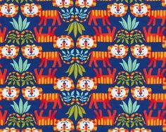Glatter+kühler+Baumwolljersey+LITTLE+TIGER,+niedliche+Tiger,+rot-dunkelblau