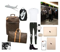"""Airport"" by kaitlyn-ogg on Polyvore featuring Louis Vuitton, Topman, Hudson, Daniel Wellington, NIKE, Beats by Dr. Dre, Casetify, men's fashion and menswear"