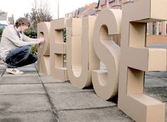 These are cardboard letters that I created over the last weekend. I think they have came out very well and precise. By keeping the cardboard surface and not painting over it, the feeling of reu… Large Cardboard Letters, Giant Letters, 3d Letters, Cardboard Crafts, Cardboard Tubes, Large Letters, Letter Standee, Spongebob Birthday Party, Decoration Evenementielle