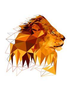 Fünfzehn Lion geometrisch Löwen Kunstdruck Löwe von villavera