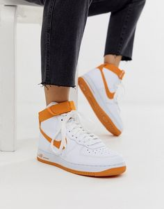 Shop the latest Nike white and orange air force 1 hi sneakers trends with ASOS! Orange Nike Shoes, Orange Sneakers, Nike Air Shoes, Sneakers Nike, Nike Fashion, Sneakers Fashion, Fashion Shoes, Nike Air Force, White Air Force 1