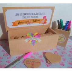 Caja + Corazones Libro De Firmas 15 Años Boda Casamiento - $ 399,00