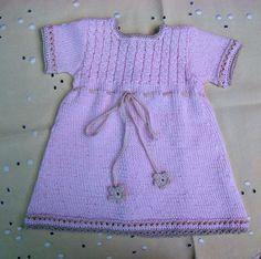 Knitting For Kids, Baby Knitting, Crochet Baby, Knit Crochet, Knit Baby Dress, Baby Booties, Crochet Clothes, Kids Outfits, Short Sleeve Dresses