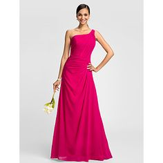 Dress - Fuchsia Plus Sizes / Petite A-line One Shoulder Floor-length Chiffon – USD $ 79.99