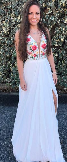 fashion v-neck white chiffon prom dress with embroidery, beautiful strap flower chiffon evening dress with split