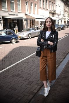 Trendy how to wear adidas pants leather jackets Off Shoulder Dusty Champagne Lace Cheap Long Evening Prom Dresses, Eve Amsterdam Street Style, Mode Amsterdam, Amsterdam Outfit, Amsterdam Fashion Summer, Fashion Mode, Fashion Week, Look Fashion, Womens Fashion, Uni Fashion