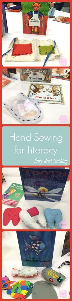 Hand Sewing for Literacy ideas from Aimee Plumley via Fairy Dust Teaching! for kids teaching Fairy Dust Teaching, Teaching Kids, Kids Learning, Learning Activities, Sewing Projects For Kids, Sewing For Kids, Preschool Crafts, Crafts For Kids, Preschool Books