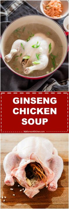 Korean Summer Stamina Food - Samgyetang (Korean Ginseng Chicken Soup) Recipe | MyKoreanKitchen.com via @mykoreankitchen