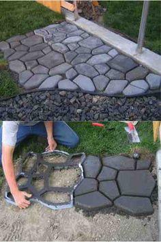 Easy DIY Concrete Cobblestone Path ............FOLLOW DIY Fun Ideas!..............BEST DIY SITE EVER!!